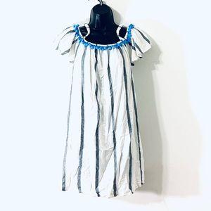 Japan | Ivory Stripes Short Sleeve Beach Tunic Top
